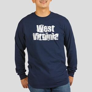 Distorted West Virginia Long Sleeve Dark T-Shirt