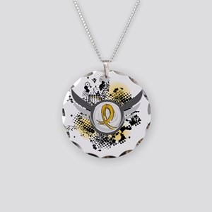 Grunge Ribbon Wings COPD Necklace Circle Charm