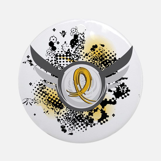 Grunge Ribbon Wings COPD Ornament (Round)