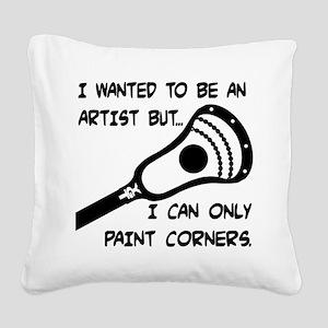 Lacrosse_PaintCorners Square Canvas Pillow