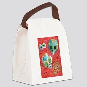 Colorful Mexican Sugar Skulls Canvas Lunch Bag