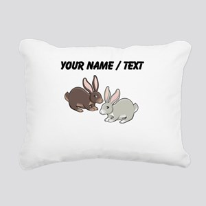 Custom Brown And Grey Bunnies Rectangular Canvas P
