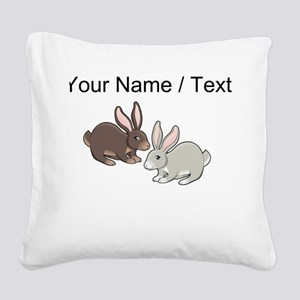 Custom Brown And Grey Bunnies Square Canvas Pillow