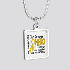 Bravest Hero I Knew COPD Silver Square Necklace