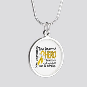 Bravest Hero I Knew COPD Silver Round Necklace