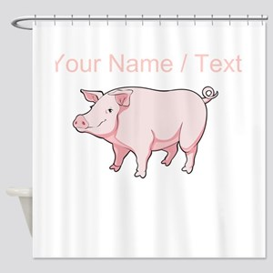 Custom Pink Pig Shower Curtain