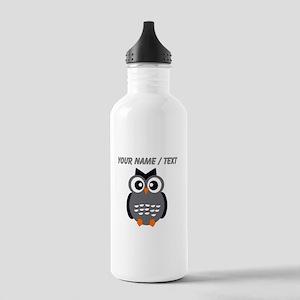 Custom Black Owl Water Bottle