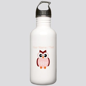 Custom Pink Owl Water Bottle