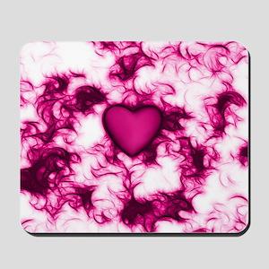 Pink Heart Feather Swirls Mousepad