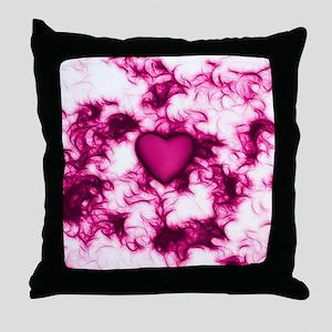 Pink Heart Feather Swirls Throw Pillow