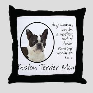 Boston Terrier Mom Throw Pillow
