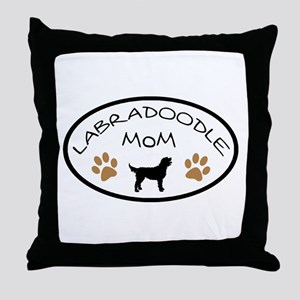 Labradoodle Mom Oval Throw Pillow