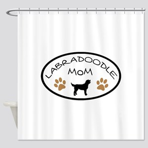 Labradoodle Mom Oval Shower Curtain