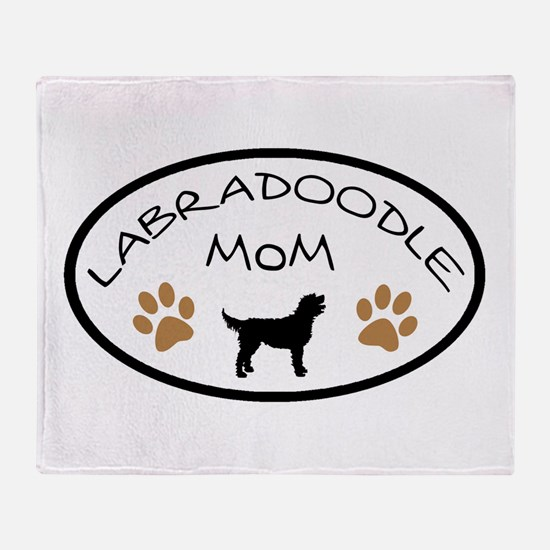 Labradoodle Mom Oval Throw Blanket