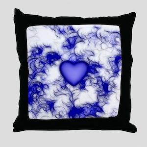 Blue Heart Feather Swirls Throw Pillow