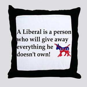 anti liberal give away Throw Pillow