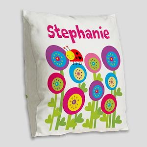 Ladybug Garden Burlap Burlap Throw Pillow