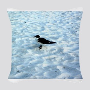 Pensive Seagull on Gulf Coast Woven Throw Pillow
