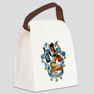 Pin Up Girl Canvas Lunch Bag