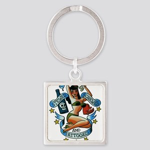 Pin Up Girl Square Keychain