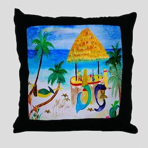 Mermaid Beach Tiki Bar Throw Pillow