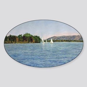 Trio of Sailboats, SML Sticker (Oval)