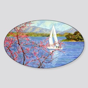 Spring Sail on Smith Mountain Lake Sticker (Oval)