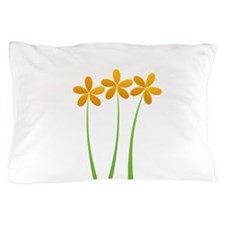 Sunny Orange Tropical Green Flowers Pillow Case
