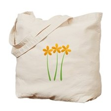 Sunny Orange Tropical Green Flowers Tote Bag