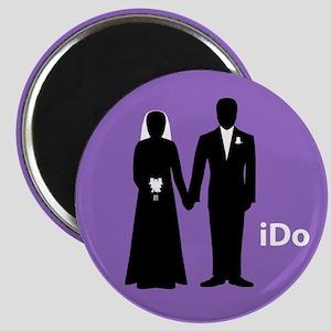 """I Do"" Bride & Groom Purple Magnet"