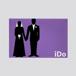 """I Do"" Bride & Groom Purple Rectangle Magnet"