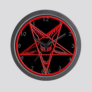 Red & Black Baphomet Wall Clock