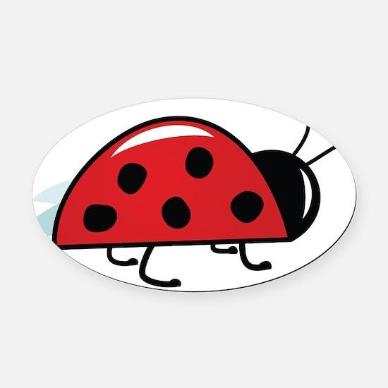 Side View Ladybug Oval Car Magnet