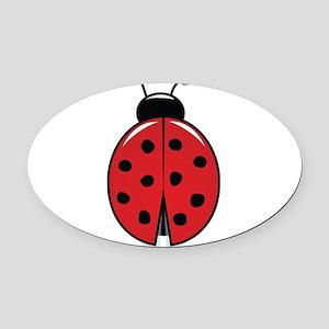 Red Ladybug Oval Car Magnet