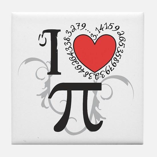 I Heart Pi Tile Coaster