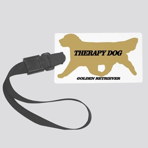 golden retriever therapy dog Large Luggage Tag