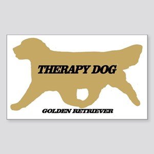 golden retriever therapy dog Sticker (Rectangle)