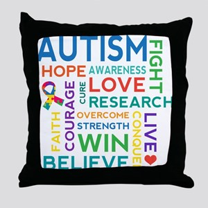 Autism Word Cloud Throw Pillow