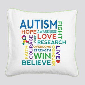 Autism Word Cloud Square Canvas Pillow