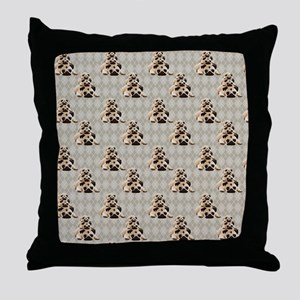 Pugs on Tan Argyle Throw Pillow