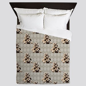 Pugs on Tan Argyle Queen Duvet