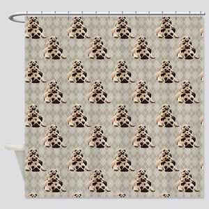 Pugs on Tan Argyle Shower Curtain