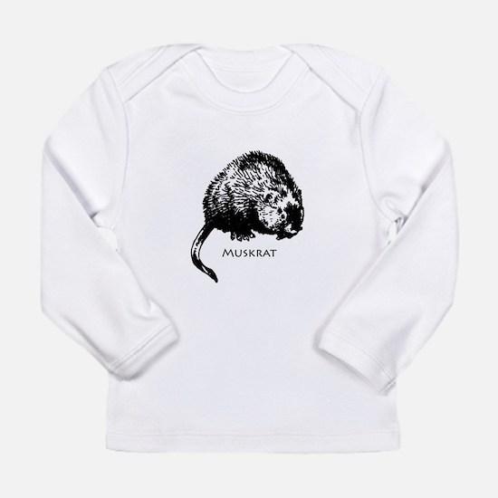 Muskrat Illustration Long Sleeve T-Shirt