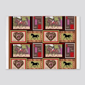 Dressage Horse Quilt Repeat 44x36 5'x7'Area Rug