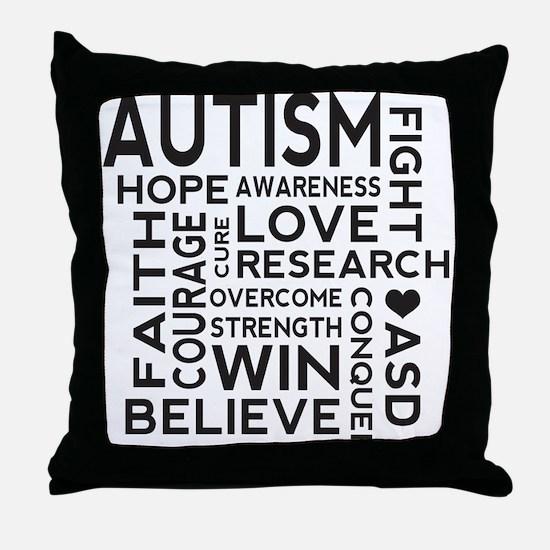 Autism Word Cloud Throw Pillow