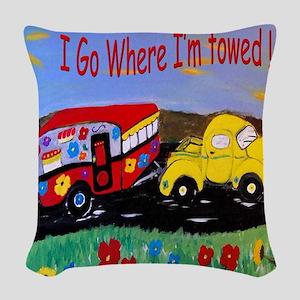 Camper Trailer  Woven Throw Pillow
