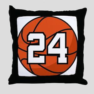 Basketball Player Number 24 Throw Pillow