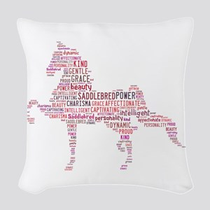 Saddlebred Art In Pink Woven Throw Pillow