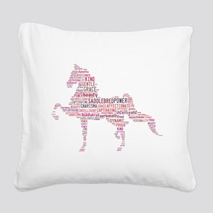 Saddlebred Art in Pink Square Canvas Pillow