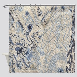 Nautical Map Shower Curtain